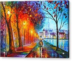 City By The Lake Acrylic Print by Leonid Afremov