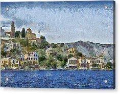 City By The Sea Acrylic Print by Ayse Deniz