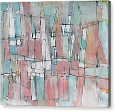 City In Peach And Turquoise Acrylic Print by Hari Thomas