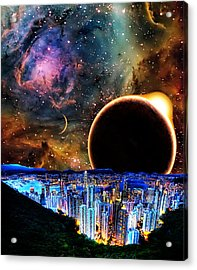 City In Space Acrylic Print by Bruce Iorio
