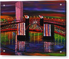 City Lights Over Morrison Bridge 8 Acrylic Print by Portland Art Creations