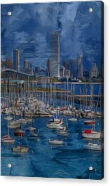 City Of Milwaukee Along Lake Michigan Acrylic Print by Jack Zulli