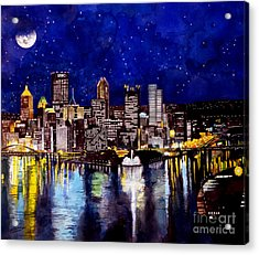 City Of Pittsburgh At The Point Acrylic Print by Christopher Shellhammer
