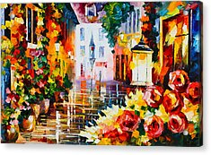 City Of Roses Acrylic Print by Leonid Afremov