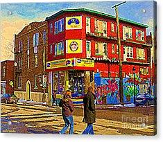 City Paint Benjamin Moore Rue Rachel And Hotel And De Ville Montreals Oldest Paint Store  C Spandau  Acrylic Print by Carole Spandau