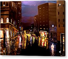 City Rain Acrylic Print by Mark Moore