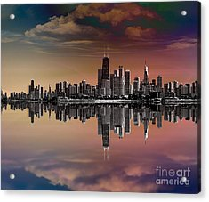 City Skyline Dusk Acrylic Print by Bedros Awak