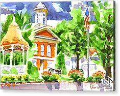 City Square In Watercolor Acrylic Print by Kip DeVore