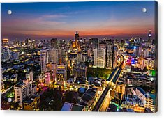City Sunset Skyline Bangkok Acrylic Print by Fototrav Print