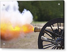 Civil War Cannon Fireing Acrylic Print by Brandon Alms