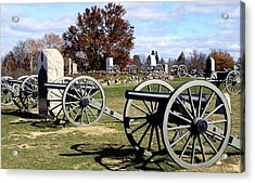 Civil War Cannons At Gettysburg National Battlefield Acrylic Print by Brendan Reals