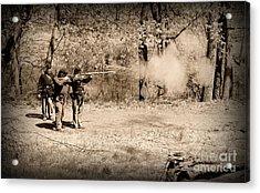 Civil War Soldiers Firing Muskets Acrylic Print by Paul Ward
