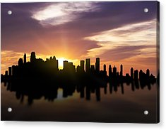 Calgary Sunset Skyline  Acrylic Print by Aged Pixel