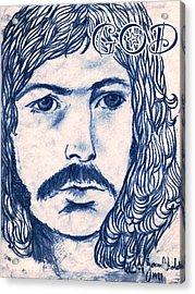Clapton 1970's Rock God Acrylic Print by Joan-Violet Stretch