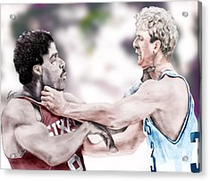Clash Of The Titans 1984 - Bird And Doctor  J Acrylic Print by Reggie Duffie