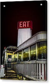 Classic American Diner At Night Acrylic Print by Diane Diederich
