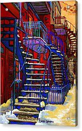Classic Blue Winding Staircase Montreal Winter City Scene Painting  By Carole Spandau Acrylic Print by Carole Spandau