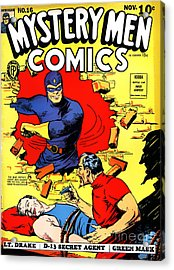 Classic Comic Book Cover - Mystery Men Comics - 1200 Acrylic Print by Wingsdomain Art and Photography