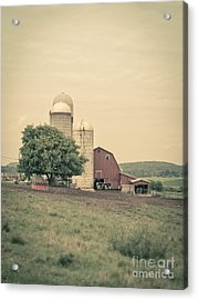 Classic Farm With Red Barn And Silos Acrylic Print by Edward Fielding