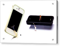 Cleaning The Iphones Little People Big Worlds Acrylic Print by Paul Ge