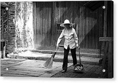 Cleaning Up Acrylic Print by Becky Kozlen