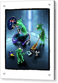 Cleanup The Alien Pigs Acrylic Print by Star  Mudersbach