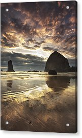 Clearing Skies At Cannon Beach Acrylic Print by Andrew Soundarajan