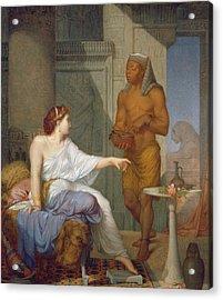 Cleopatra And Her Slave  Acrylic Print by Henri Blaise Francois Dejussieu