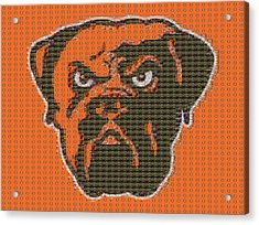 Cleveland Browns Mosaic Acrylic Print by Dan Sproul