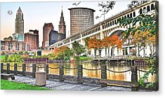 Cleveland Panorama Over The Cuyahoga Acrylic Print by Frozen in Time Fine Art Photography