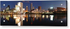 Cleveland Skyline At Dusk Acrylic Print by Jon Holiday
