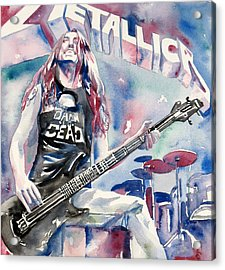 Cliff Burton Playing Bass Guitar Portrait.2 Acrylic Print by Fabrizio Cassetta