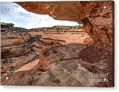 Cliff Overhang In Southwest Sandstone Canyon - Utah Acrylic Print by Gary Whitton