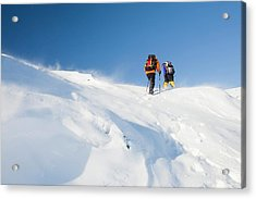 Climbers Being Blasted By Spindrift Acrylic Print by Ashley Cooper