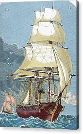 Clipper 19th-century Colored Engraving Acrylic Print by Prisma Archivo