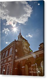 Clock At Independence Hall Acrylic Print by Kay Pickens