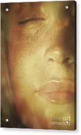 Close-up Of  Woman's Face In Dreamlike State Acrylic Print by Sandra Cunningham