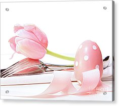 Closeup Of Tulip And Utensils On Pale Pink Acrylic Print by Sandra Cunningham