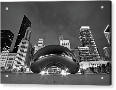 Cloud Gate And Skyline Acrylic Print by Adam Romanowicz
