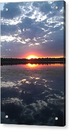 Cloud Reflections On Lake Harriet Acrylic Print by Linda L  Brobeck