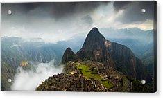 Clouds About To Envelop Machu Picchu Acrylic Print by Alison Buttigieg