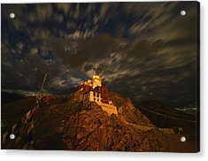 Clouds And Stars Over Tsemo Acrylic Print by Aaron S Bedell
