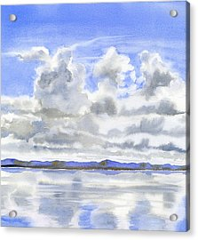 Cloudy Sky With Reflections Acrylic Print by Sharon Freeman