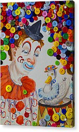 Clown And Duck With Buttons Acrylic Print by Garry Gay