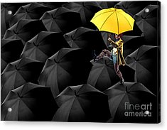Clowning On Umbrellas 03-a13-1 Acrylic Print by Variance Collections