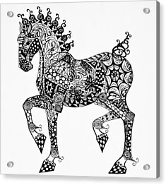 Clydesdale Foal - Zentangle Acrylic Print by Jani Freimann