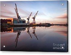Clydeside Cranes Long Exposure Acrylic Print by John Farnan