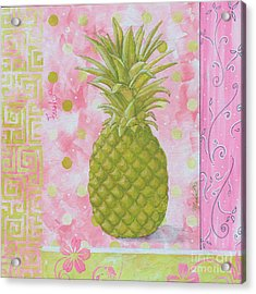 Coastal Decorative Pink Green Floral Greek Pattern Fruit Art Fresh Pineapple By Madart Acrylic Print by Megan Duncanson