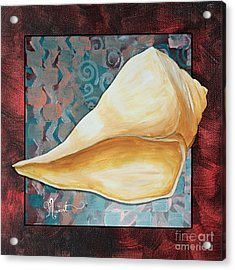 Coastal Decorative Shell Art Original Painting Sand Dollars Asian Influence II By Megan Duncanson Acrylic Print by Megan Duncanson