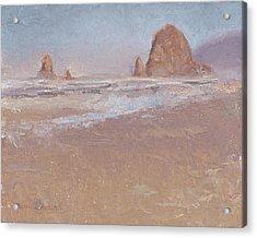Coastal Escape  Cannon Beach Oregon And Haystack Rock  Acrylic Print by Karen Whitworth